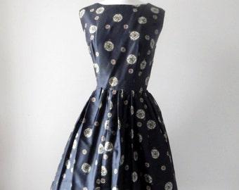Charmed dress   vintage 1950s dress   silk 50s dress