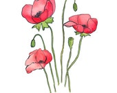 Poppy Posy 1, Original Watercolor Painting, 8x10 inches, floral