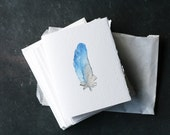 Set of 6 BLUE FEATHER Cards and Envelopes, Blank Interior, Post-Consumer Recycled Paper