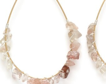 Gemstone Earrings, Hoop Earrings, Gold Fill Oregon Sunstone Gemstone Hoop Earrings