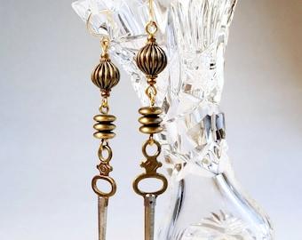 Antique Pocket Watch Key Trio Earrings