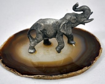 Vintage Pewter Elephant on a Geode Slice