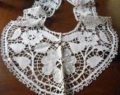 Beautiful Long Large ANTIQUE Fine Thread Lace Clothing Collar W4