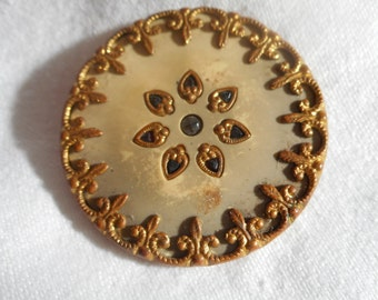 Large VINTAGE Perforated Glass & Metal Flower Celluloid Button