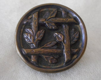 VINTAGE Branch Leaves Tinted Metal BUTTON
