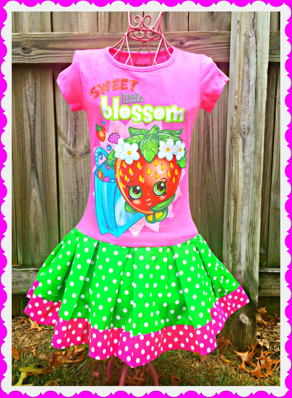girls Shopkins dress Little Sweetie Smart by BlossomBlueBoutique