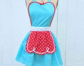 RETRO APRON  aqua with red  polka dots womens full apron flirty hostess gift vintage inspired flirty