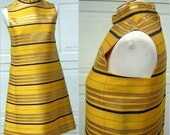 RESERVED Morton Myles Jeunesse Dress MOD Space Age Stripes of Gold Metallic & Navy against Canary Yellow Small Size 8
