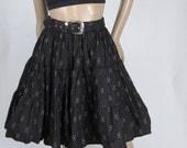 VINTAGE CLEARANCE -Size MEDIUM - Black Full Gathered Tiered Southwestern Circle Skirt
