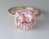 Rose gold engagement ring Peach sapphire ring 7.1ct cushion sapphire 14k rose gold diamond ring by Eidelprecious