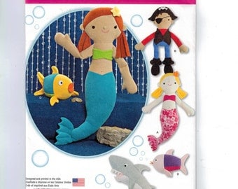 Craft Sewing Pattern Simplicity 1131 Fleece Mermaid Pirate Fish Shark Doll UNCUT