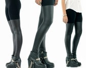 Kat Von D in BABOOSHKA Black Out Thigh High Legging / Matte Faux Vegan Leather Panelled Fitted Skinny Moto PU Tights Pants Modern Witch