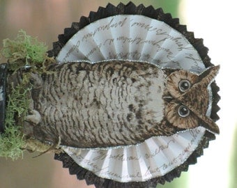 Vintage Halloween Victorian Inspired Owl Standing on a Spool with Rosette