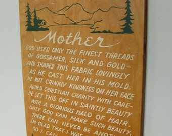 Vintage Rustic MOTHER Tribute Wall Hanging