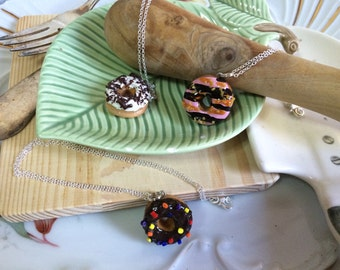 Delicious Dozens Big Donut Polymer Clay Charm Necklace