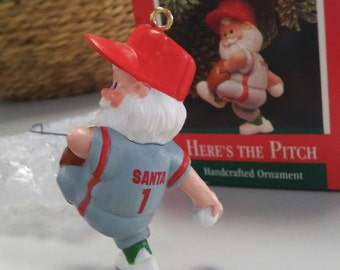 1989 Here's the Pitch - Hallmark Keepsake ornament, baseball pitcher Santa figurine, glove, uniform, hat, New with box, packaging, hook