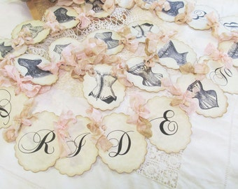 Bridal Shower Lingerie Party Banner Vintage Corset w/ribbons - Bride to Be Parchment Party Garland - Choose Size & Ribbons - Bachelorette