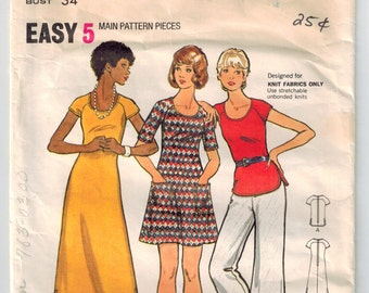 Vintage 70s Dress Top and Pants Sewing Pattern Size 12 Bust 34 A-line Dress Mini or Ankle Length Scoop Neckline Raglan Sleeves Patch Pockets