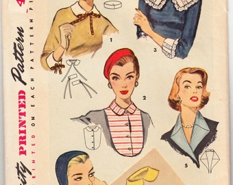 Original Vintage Sewing Pattern 1950's Ladies' Collar Cuffs, Hat and Beret Simplicity 1390