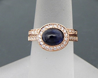 AAAA Blue Sapphire Cabochon   7.1x6mm  1.77 Carats   Oval 14K Rose gold Halo bridal set with .35cts of diamonds. 787