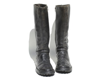 Vintage Black Leather Side Zip Tall Boots / size 10