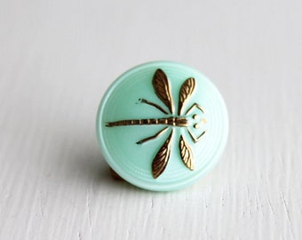Turquoise Gold Dragonfly 18mm Czech Glass Button
