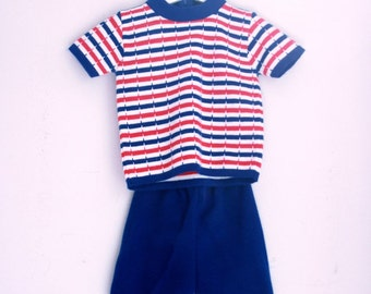 Vintage toddler knit shorts outfit 2t red white and blue stripes