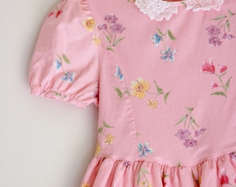 vintage girls dress  Laura Ashley 2t 3t pink floral party dress