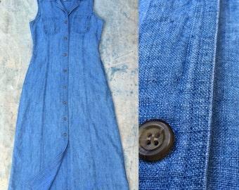 vintage blue linen sleeveless shirt dress m