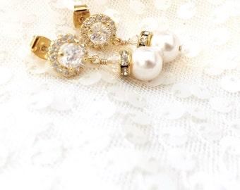 Gold bridal earring, Pearl Bridal Earring, pearl wedding earrings, swarovski crystal and pearl earrings, rhinestone and pearl earrings