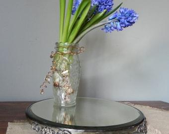 Authentic / Vintage silver plate dresser mirror round mirror beveled edge