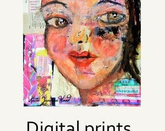 Digital Print. Woman Portrait Painting. Colorful Unique Collage Wall Art Print.