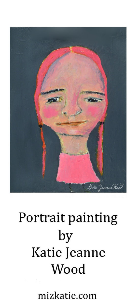 Original Acrylic Fun Quirky Portrait Painting. Girl Portrait Art. Gray & Pink Office Wall Art