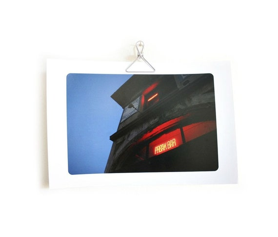 Bar or man cave decor photo print red neon sign glare urban unframed old building, 8 x 12 in