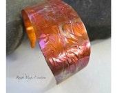 Rustic Copper Cuff Bracelet, Colorful Antiqued Copper, Hammered Metal Jewelry, Primitive Metalwork