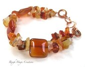 Autumn Gemstone Bracelet, Chunky Bracelet, Red Orange Carnelian Stones, Hand Forged Rustic Copper Clasp