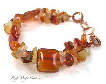 Autumn Gemstone Bracelet, Chunky Bracelet, Red Orange Carnelian Stones, Hand Forged Rustic Copper Clasp