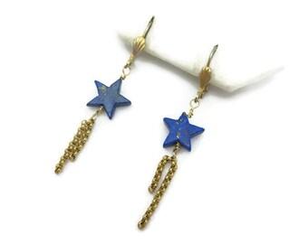 Lapis Earrings - Blue Stone Shooting Stars, Gold Tone Chain, Pierced Hooks