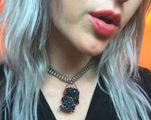 Crystal Choker // Boho Jewelry // Stone Necklace // Fishbone Chain // Unusual Unique // Futuristic // Soft Grunge // Glam Rock