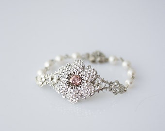 Wedding Jewelry Wedding Bridal Bracelet Crystal Flower Bracelet Blush Pink Crystal Vintage Rose NICKI