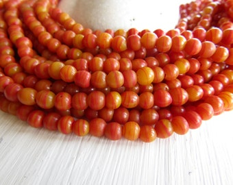 mini round lampwork beads , striped orange  red glass beads, tiny spacer, irregular , boho ethnic Indonesian 4 to 6mm (10 inch) 6bb16-8