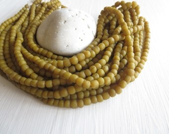 Small opaque  seed beads, matte light brown green olive, glass spacer tube barrel, New Indo-pacific 3 to 6 mm /22 inch std - 6A14-6