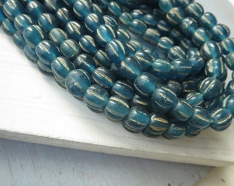 blue melon glass lampwork beads, blue glossy translucent melon wavy rustic  aged look , indonesian  -  8 to 10mm  / 12 beads, 5A8-9