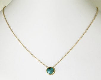 Real Turquoise Necklace Gold Bezel Necklace Genuine Turquoise Necklace Turquoise Jewelry December Birthstone BZ-P-105-Turquoise/g