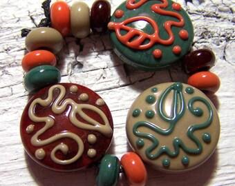 Lampwork Bead Set (13) - maroon, tan, forest green - Autumn Vines - SRA AutEvDesigns, ISGB