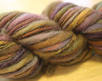 Handspun 100 per cent wool thick and thin singles yarn in raspberry, blueberry, gooseberry