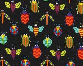 Bugs Creepy Crawlies Black Michael Miller Fabric 1 yard