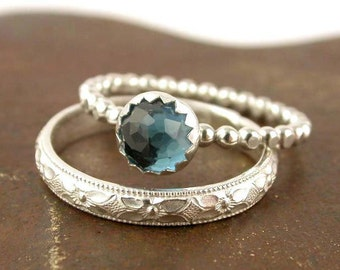 Gemstone Stacking Ring Set - 2 Rings - Sterling Silver - Engagement Ring - Made to Order