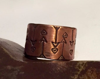 Copper Hand Stamped Textured Wide Band  -  Made to Order