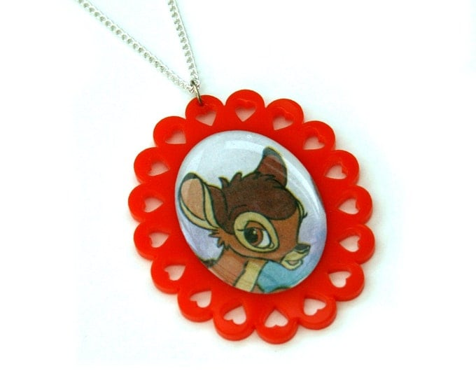 Bambi Necklace, Bambi Illustration Necklace OOAK, Woodland, Animal Necklace SALE